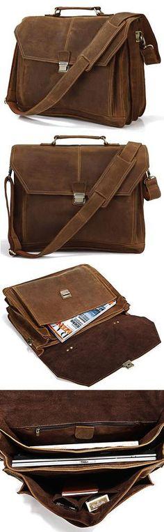 """Men's Handmade Vintage Leather Briefcase / Messenger / 15"""" 17"""" MacBook 15"""" 16"""" Laptop Bag"""