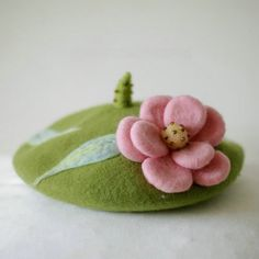 Pink Flowers  Flowers Green Beret (Women / Girl )| Handmade Needle Felt French Beret  Cute wool BERETS in French style by DollyHoly on Etsy