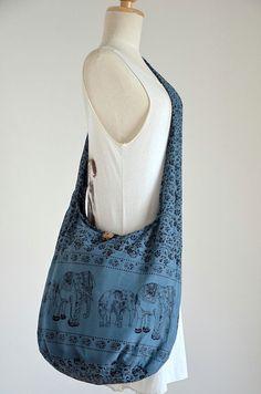 Elephant Bag Hippie Hobo Bag Sling Crossbody Bag Boho by Dollypun