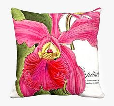 Pink Tropical Lily Pillow Cover Cotton and Burlap Pillow