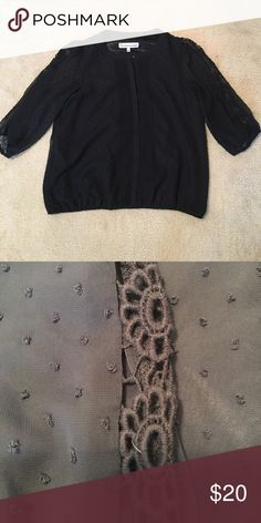 Black blouse with sheer sleeves and eyelet Perfect condition, super cute top with sheer sleeves, has eyelet down the side. G by Giuliana Rancic Tops Blouses
