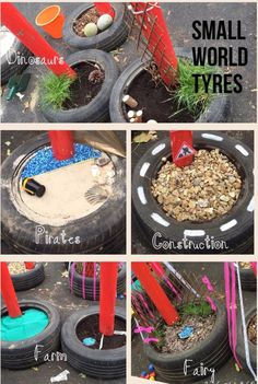 Small world tyres – natural playground ideas Outdoor Learning Spaces, Outdoor Play Areas, Outdoor Education, Eyfs Outdoor Area Ideas, Outdoor Spaces, Natural Playground, Outdoor Playground, Playground Ideas, Outdoor Classroom