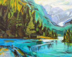 Emerald Day, acrylic landscape painting by Becky Holuk | Effusion Art Gallery + Glass Studio, Invermere BC River Painting, Boat Painting, Modern Art, Contemporary Art, Mountain Paintings, Canadian Artists, Impressionist, Landscape Paintings, Emerald