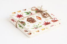 Wooden coasters Christmas II set of 2 pieces by MissVintageWedding