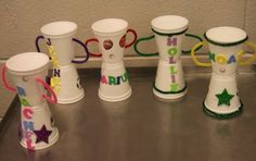 Trophies - made with styrofoam cups, pipe cleaners, foam stickers. Cute sports craft!