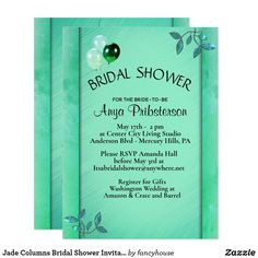 Jade Columns Bridal Shower Invitation