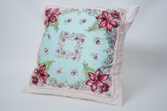 Vintage Handkerchief Pillow Cover.