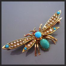 Magnificent Antique BUTTERFLY Brooch 15ct Gold TURQUOISE Seed Pearls RUBY Victorian  Are you sure this ain't a dragon fly? Either way I LOVE IT!