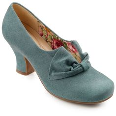 10 Popular 1940s Shoes Styles for Women Donna Heels - Dark Aqua Standard Fit 5.5 $129.00 AT vintagedancer.com