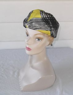 60s 70s Vintage Black and Yellow Turban by MyVintageHatShop
