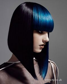 Love this style - Blue Hair by Neil Barton Dark Hair, Blue Hair, Bob Hairstyles, Straight Hairstyles, Black Hairstyles, Avant Garde Hairstyles, Haircuts, Corte Y Color, Creative Hairstyles