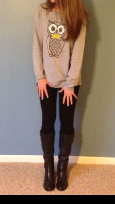 Fall clothes - sweater, leggings and boots