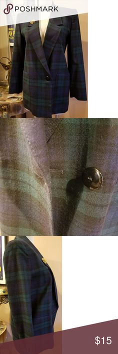 Georgio Sant'Angelo Blue Green Plaid Blazer Jacket Made in Bulgaria this nice Blazer is a vintage late 80's early 90's Plaid  in blue and green with black .. This was used in a shoot and we left the brooch on it so its your gift.. This is a large, a bit longer to the hip and great for work or a pair of jeans and loafers .  Classic chic ! #steampunkworks Georgio Sant'Angelo Jackets & Coats Blazers