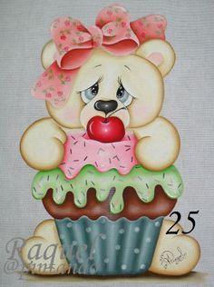 ursinho cupcakes pintar em pano d prato - Pesquisa Google