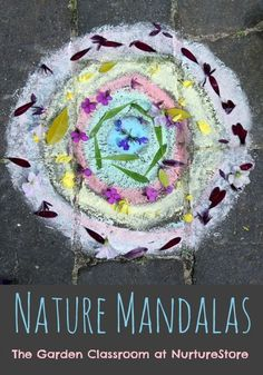 Great ideas for making nature mandalas for kids. A beautiful outdoor art project