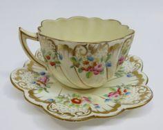 Antique CHAPMAN & Sons ~ Scalloped Edge Porcelain Cup & Saucer ENGLAND 1889-1906 | Antiques, Decorative Arts, Ceramics & Porcelain | eBay!
