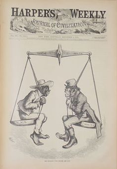 This cartoon was published in the wake of the disputed election of 1876, in which both sides charged fraud. Nast compares the African American Republican vote of the South to the Irish Catholic Democratic vote of the North. Under such circumstances, winning elections is hardly an honor, and neither Democrat nor Republican should claim special virtue. Nast's changing attitude toward former slaves paralleled that of many Republicans as they shifted from the idealistic politics of the…
