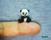 Miniature White Mohair Bear - Micro Crocheted  Bears 0.8 Inch Scale with Blue Scarf - Made To Order. $65.00, via Etsy.