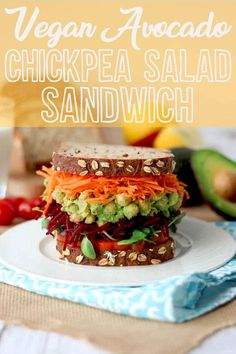 Try this vegan avocado chickpea salad sandwich for lunch! #veganeats #healthylunch #chickpeasalad #vegansandwich #healthyeats #eatwell #vegancommunity