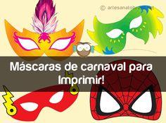 Baixe 06máscaras de super heróis em PDF. para imprimir no tamanho real para adulto e criança. Máscaras de carnaval do Flash e Homem-Aranha. São gratuitas!