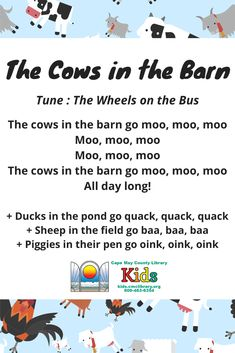 Farm Storytime Rhyme - Farm Storytime Rhyme Farms are our favorite! We love this farm animal themed action rhyme set to a familiar tune. Perfect for a scarf song in storytime or a brain break in the classroom! Kindergarten Songs, Preschool Music, Preschool Learning, Preschool Action Songs, Farm Animals Preschool, Preschool Jungle, Farm Animal Songs, Farm Songs, Baby Animals Songs