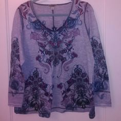 One World top Grey Color v neck top with patterns studs on front ONE WORLD Tops