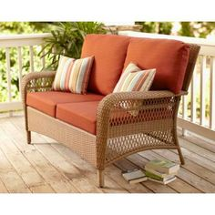 Martha Stewart Living Charlottetown Natural All Weather Wicker Patio  Loveseat With Quarry Red Cushion