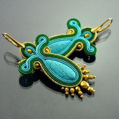 Turquoise Gold Soutache Earrings Long Turquoise von OzdobyZiemi