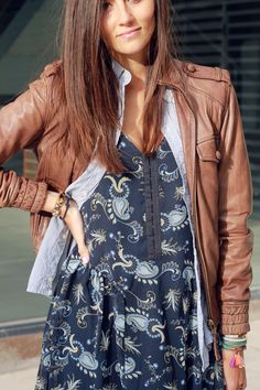 Paisley dress layered with leather jacket and denim shirt