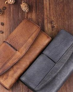 Handmade Leather Mens Cool Long Leather Wallet Trifold Clutch Wallet for Men Mens Long Leather Wallet, Leather Wallet Pattern, Leather Men, Pink Leather, Leather Clutch, Clutch Wallet, Men Wallet, Simple Wallet, Men's Briefcase