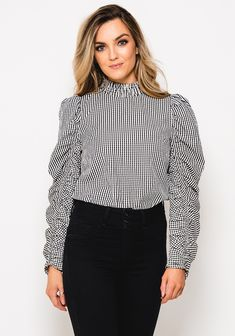 Gingham Check, Black Tops, Trends, Blouse, Long Sleeve, Sleeves, Women, Fashion, Blouse Band