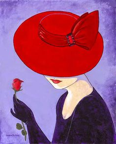 Glamorous ladies in hats Lorraine Dell Wood The artist Lorraine Dell Wood (Lorraine Dell Wood) is a remarkable series of paintings. Arte Pop, Red Hat Ladies, Red Hat Society, Illustration Mode, Red Hats, Painted Rocks, Painting & Drawing, Lady Drawing, Vintage Art