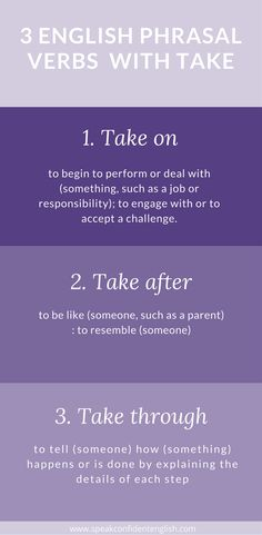 A quick lesson on English phrasal verbs. Don't forget to go to the lesson for the opportunity to practice. http://www.speakconfidentenglish.com/phrasal-verbs-take/?utm_campaign=coschedule&utm_source=pinterest&utm_medium=Speak%20Confident%20English%20%7C%20English%20Fluency%20Trainer&utm_content=5%20Phrasal%20Verbs%20with%20Take%20to%20Increase%20Your%20Vocabulary
