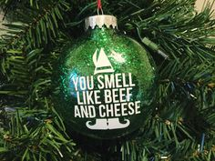 You Smell Like Beef & Cheese Elf Movie by HandmadeEscapade Christmas Party Games, Christmas Elf, Christmas Movies, Christmas Humor, Christmas Bulbs, Christmas Crafts, Elf Decorations, Elf Movie, Buddy The Elf