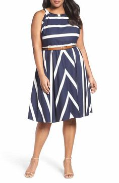 Eliza J Stripe Fit & Flare Dress (Plus Size) Plus Size Fashion For Women Summer, Plus Size Fashion Tips, Curvy Women Fashion, Ladies Fashion, Fat Fashion, Fashion Pants, Dress Plus Size, Plus Size Outfits, Striped Dress Outfit