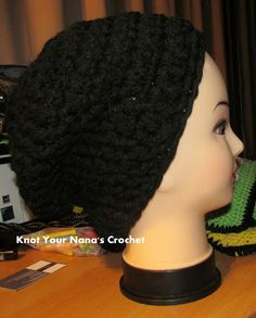 4 strands of yarn  and less then a hour to crochet.   Free Crochet men slouch Pattern