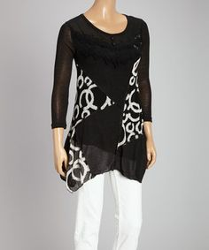 This Black & Cream Lace Swirl Linen-Blend Three-Quarter Sleeve Top by Pretty Angel is perfect! #zulilyfinds