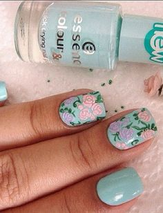 pastel floral nails
