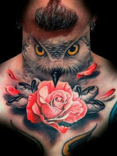 Discover a creature of wisdom and balance with the top 30 best owl neck tattoo designs for men. Owl Neck Tattoo, Full Neck Tattoos, Neck Tattoo For Guys, Chest Tattoo, Throat Tattoo, Demon Tattoo, Sick Tattoo, Rose Tattoos For Men, Trendy Tattoos