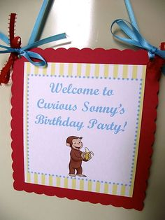 Curious George Birthday Party Door Sign