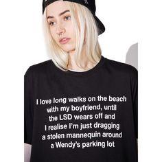 Disturbia LSD Black Tee ($32) ❤ liked on Polyvore featuring tops, t-shirts, long beach t shirts, slouchy tops, long sleeve boyfriend tee, long length t shirts and i love my boyfriend t shirt