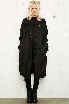 Silence + Noise Drop Waist Clean Parka in Black - Urban Outfitters