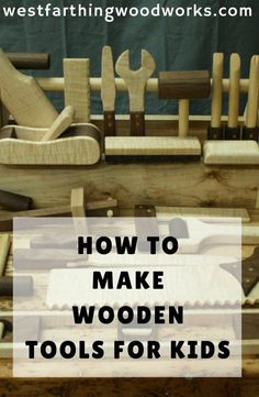 Woodworking For Kids Making wooden tools for kids. This is a fun way to introduce young kids to woodworking and get them using their imaginations. Antique Woodworking Tools, Woodworking Projects For Kids, Learn Woodworking, Woodworking Patterns, Popular Woodworking, Diy Wood Projects, Woodworking Crafts, Woodworking Plans, Woodworking Furniture