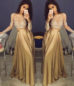 Sexy Long Prom Dress - Two Piece Long Sleeve Top with Lace,Glamorous prom dress,Cute dress