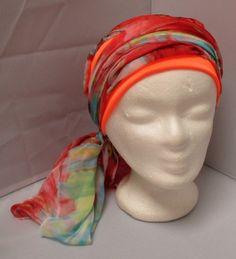 Turban préformé - Foulard cheveux - Bonnet - chapeau - bandeau chimio Rouge  et Turquoise monté sur un bandeau orange à très 57fc2438258