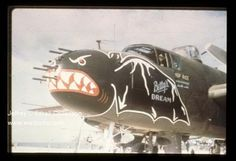 "Capt. Charles E. Rice, Jr., the 499th Squadron Operations Officer, was the pilot assigned to BETTY'S DREAM. The B-25 was photographed on Ie Shima in mid-August 1945. It was one of the escorts for the Japanese ""Betty"" bombers which ferried the delegation between Japan and Ie Shima as part of the surrender negotiations which ended WWII. The story here: http://wp.me/pHIZF-9v By this date it carried 22 mission symbols and silhouettes for 2 Japanese ships sunk. Seen in Warpath Across the Pacific."