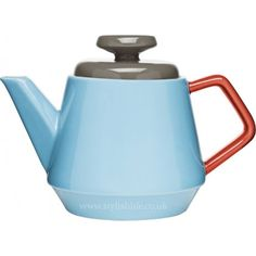 'POP' TeaPot by Sagaform in turquoise, red and brown stoneware presented in a premium gift box. The POP range features brightly coloured retro inspired kitchen crockery. Available in the range we also have matching drinking mugs, coffee cups, sugar bowls Dot And Bo, Teapot Design, Ceramic Teapots, Ceramic Art, All Modern, Stoneware, Earthenware, Tea Pots, Coffee Time