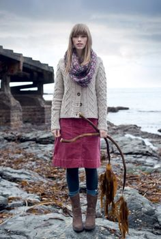 This picture is kind of weird but this outfit is really cute with the pink cord skirt!