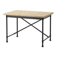 IKEA - KULLABERG, Skrivebord, , Vi syntes, at KULLABERG bordplader skulle ha' et naturligt og levende udseende. Derfor valgte vi at beholde knaster og andre mærker i overfladen, så du får en unik bordplade.Skrivebordet kan bruges både som skrivebord og spisebord, afhængigt af om du monterer krydset ved understellets kant eller i midten.Bordpladen har forborede huller til understellet, så bordet er nemt at samle.