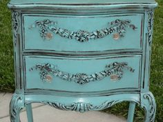 Aqua / teal painted French nightstand with appliques